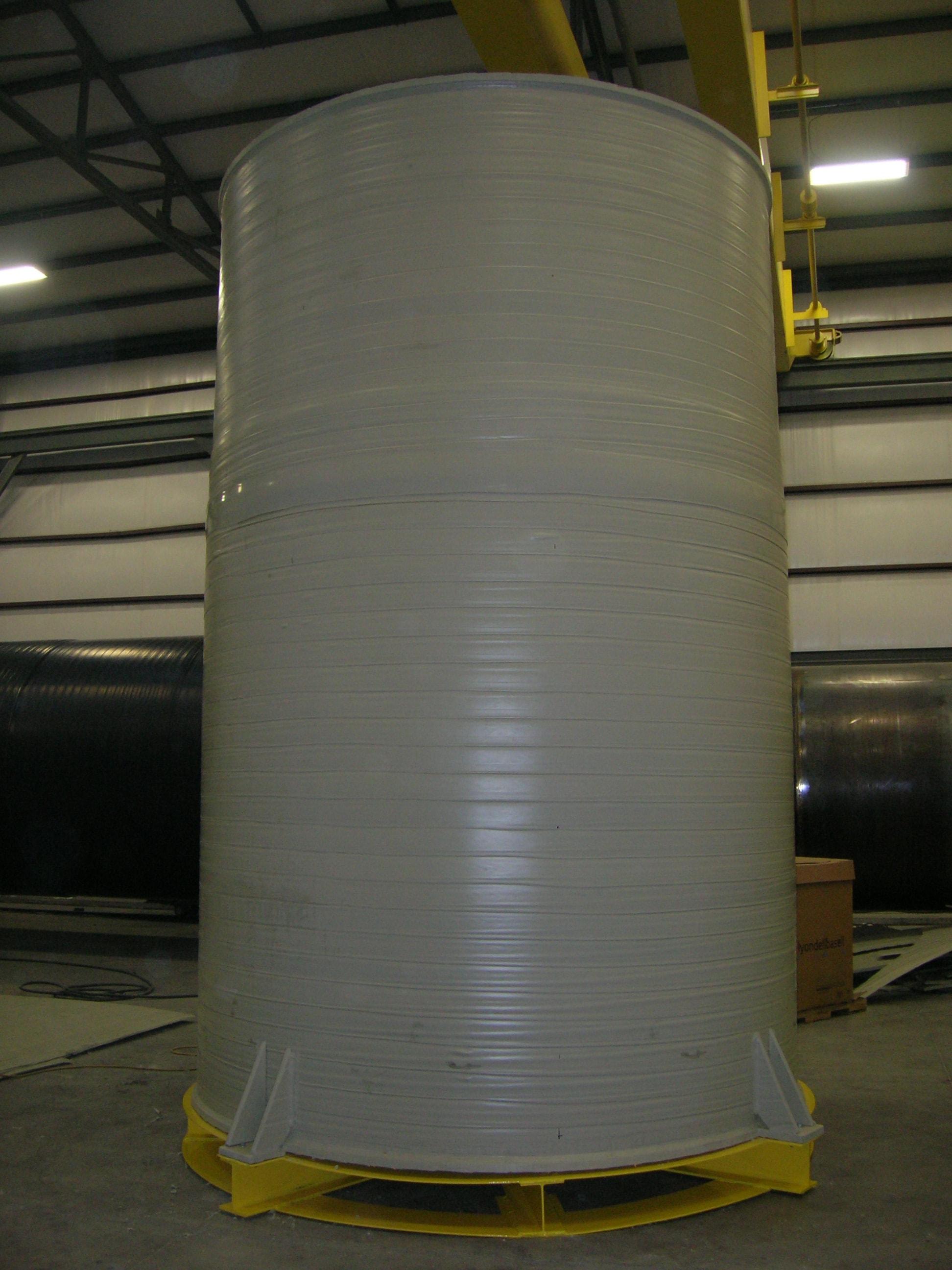 Polypropylene Tank on Carbon Steel Inspection Ring